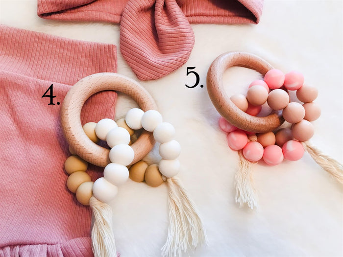 White Boho Natural Boho Teething Ring