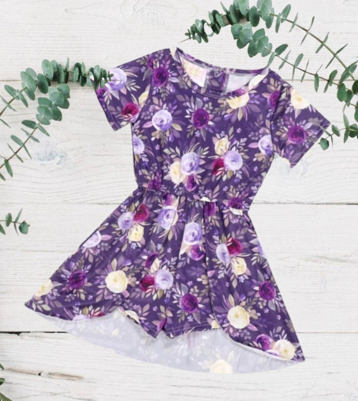 Purple Floral Spring Skirted Romper