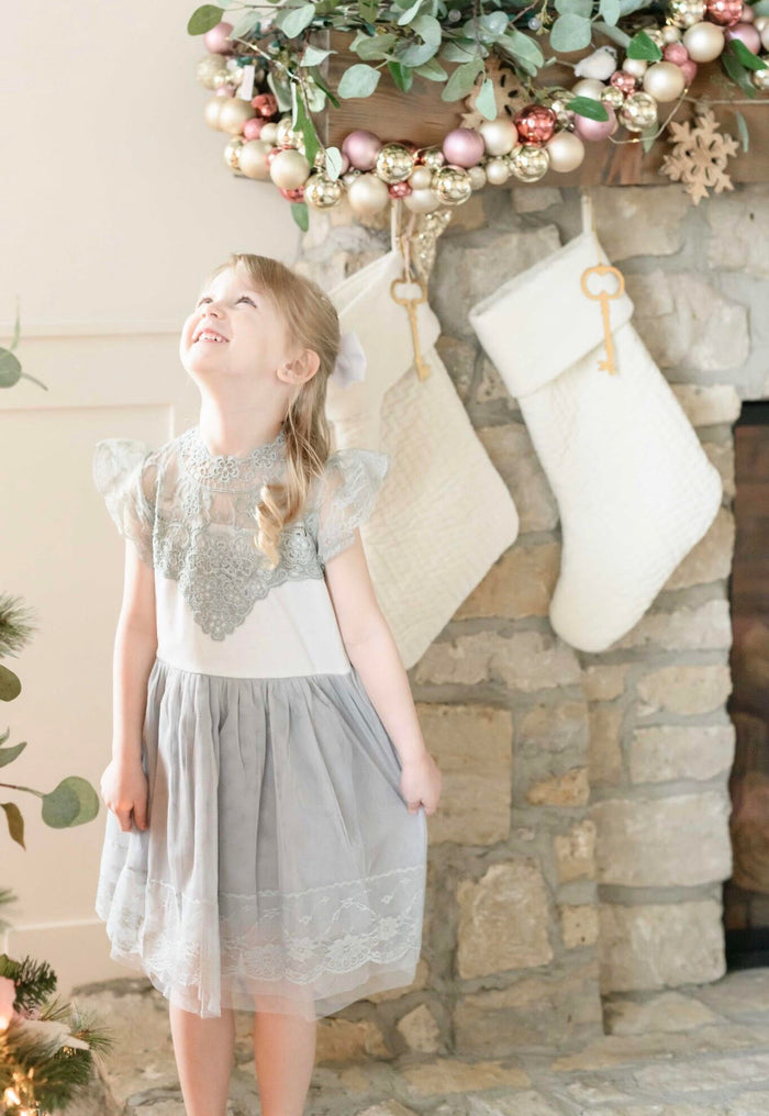 Hazel Grace Vintage Lace Holiday Dress - Holiday Dress - Girls Grey Vintage Holiday Dress - Birthday Dress - Dress Boutique