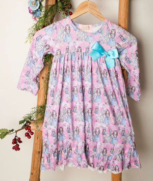 Girls Vintage Pink Nutcraker Holiday Night Gown