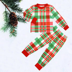 Red & Green Plaid Kids Christmas Pajamas
