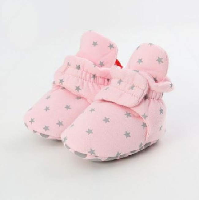 Pink Stars Cotton Non Slip Cozy Sock Shoes