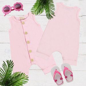 Light Pink Girls & Boys Solid Romper
