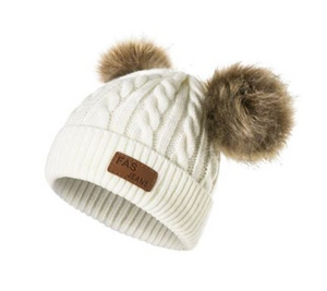 Kids Cream Knit 2 Brown Poms Faux Fur Pom Hat - 50