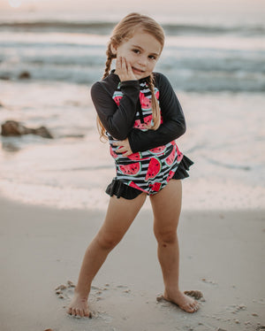 Girls Bathing Suits - Sweet Crimson Watermelon - 2 Pc Long Sleeve