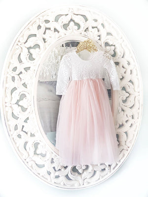 BLUSH -  Veronica Soft White Eyelash Lace with Straight Skirt