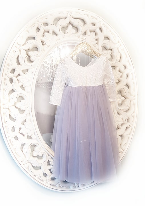 Blue -  Veronica Soft White Eyelash Lace with Straight Skirt