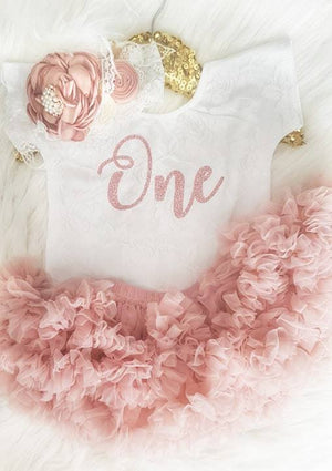 First Birthday White Short Sleeve Lace Leo Sets with Rose Gold One