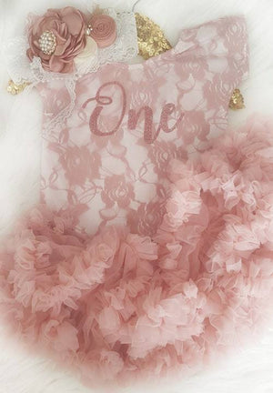 First Birthday Dusty Rose Short Sleeve Lace Leo Sets with Rose Gold One