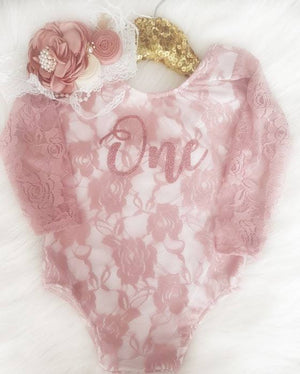 First Birthday Dusty Rose Long Sleeve Lace Leo Sets with Rose Gold One