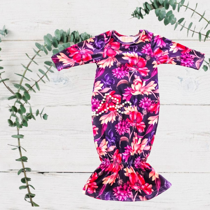 Baby Bright Purple Floral Sleep Gown