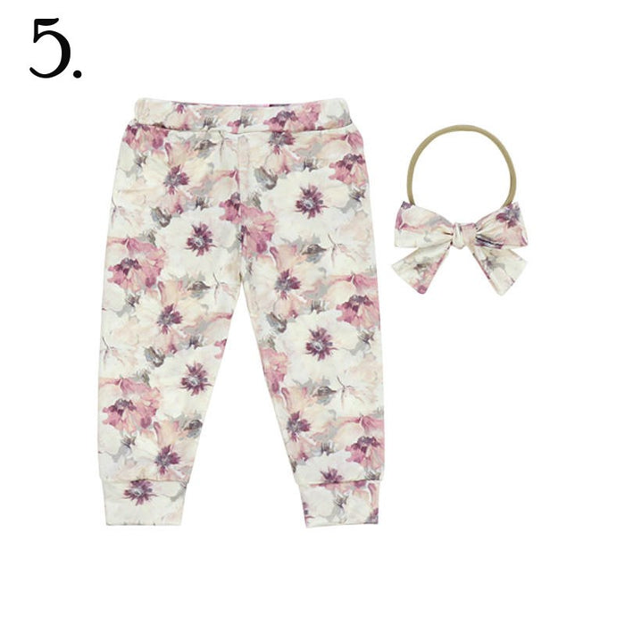 2 Pc Dusty Mauve Floral Baby Cuffed Jogger & Headband