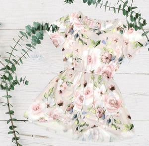 Tan Floral Skirted Romper