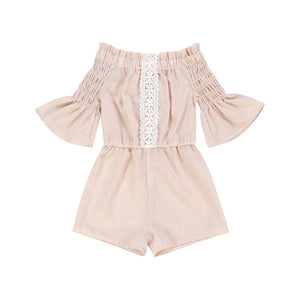 Kryssi Kouture Girls Blush Linen & Lace Off Shoulder Romper