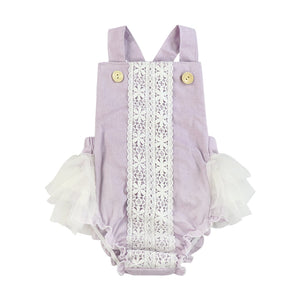 Kryssi Kouture Mauve Purple Linen & Lace Ruffled Lace Bum Romper
