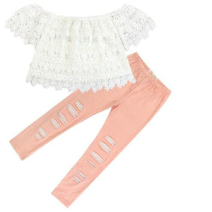 Kryssi Kouture Peach Distressed Leggings & Lace Top