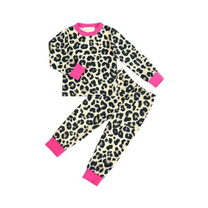 2 Pc Pink Cuffed Leopard Pajama Set