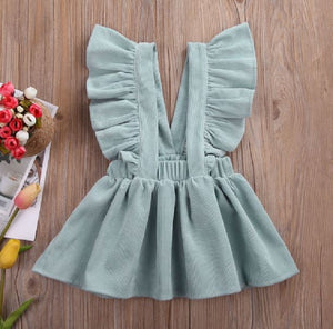Ice Blue Cord Suspender Fall Dress