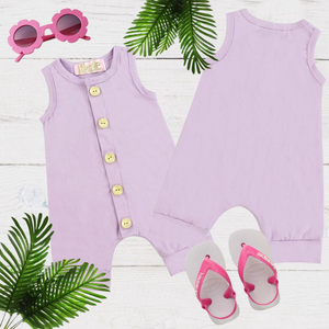 Purple Girls & Boys Solid Romper