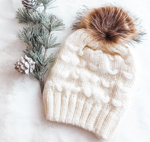 Kids Ivory Loose Knit Faux Fur Pom Hat - 5