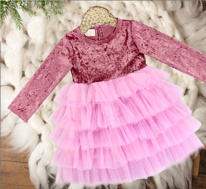 Girls Mulberry Ruffle Bottom Holiday Velvet Tutu Dress
