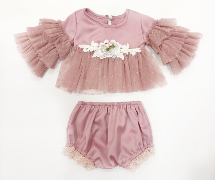 Kryssi Kouture Dusty Rose Anastasia Tulle Crop Top & Bloomers
