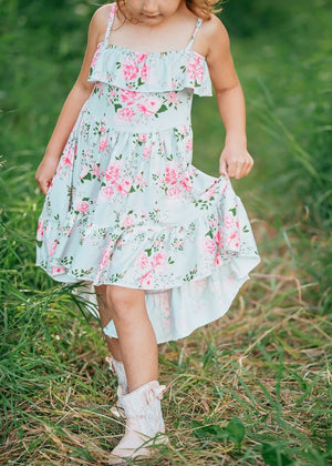 Girls Dusty Sage Floral Spaghetti Strap High Low Dress