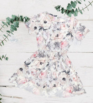 Light Grey Floral Spring Skirted Romper