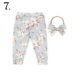 2 Pc Sea Blue Floral Baby Cuffed Jogger & Headband