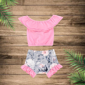 2 Pc Bubblegum Pink Off The Shoulder Top with Grey Floral & Pink Ruffle Bummie Set