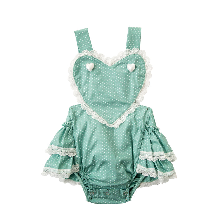 Baby Girls Sweet Valentine Dusty Green Romper/Jumper