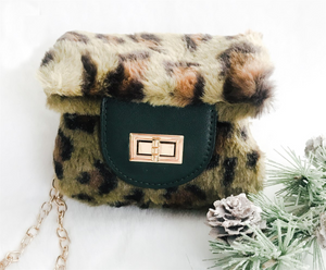 Green Leopard Faux Fur Purse
