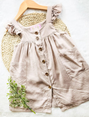 Tan Button Front Pocket Dress