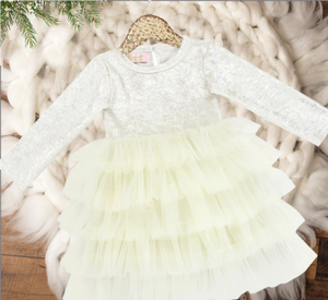 Girls Ivory Ruffle Bottom Holiday Velvet Tutu Dress