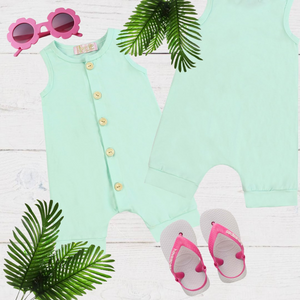 Mint Green Girls & Boys Solid Romper