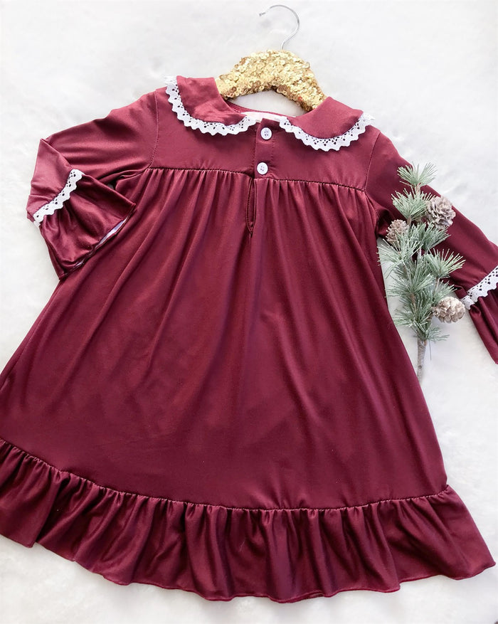 Burgundy Vintage Christmas Long Sleeved Night Gown