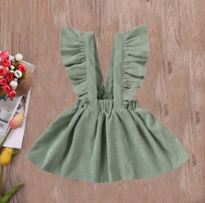 Olive Green Cord Suspender Jumper Dress