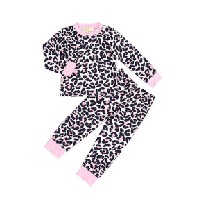 2 Pc Pink & Black Leopard Pajama Set