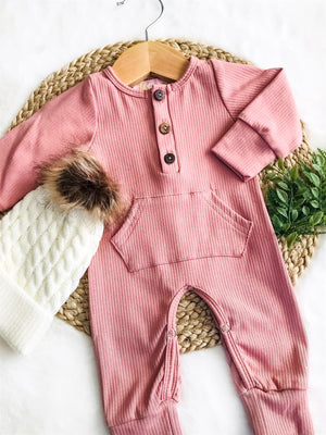 Dusty Rose Unisex Pocket Romper