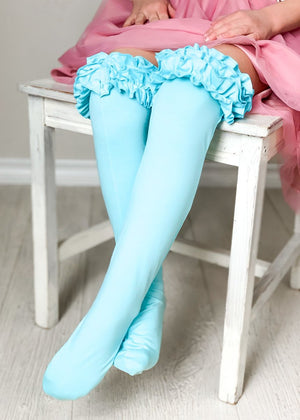 Girls Ruffle Knee High Socks / Terquoise