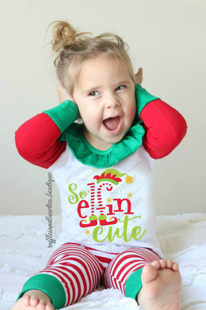 Just So Elfin Cute Kids Christmas Pajamas - Red, Green & White Pajamas, Holiday Pyjamas, Matching Christmas Pj's