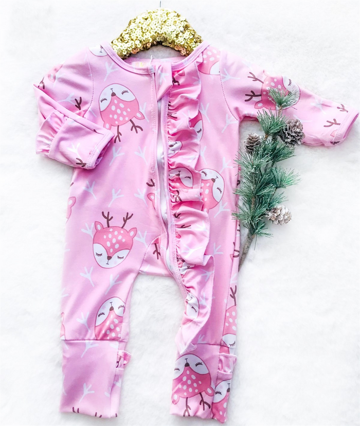 Baby Pink Reindeer Head Holiday Zipper Convertible Sleepers