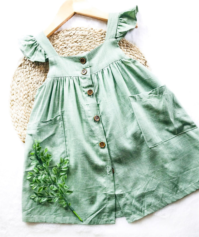 Ice Green Button Front Pocket Dress