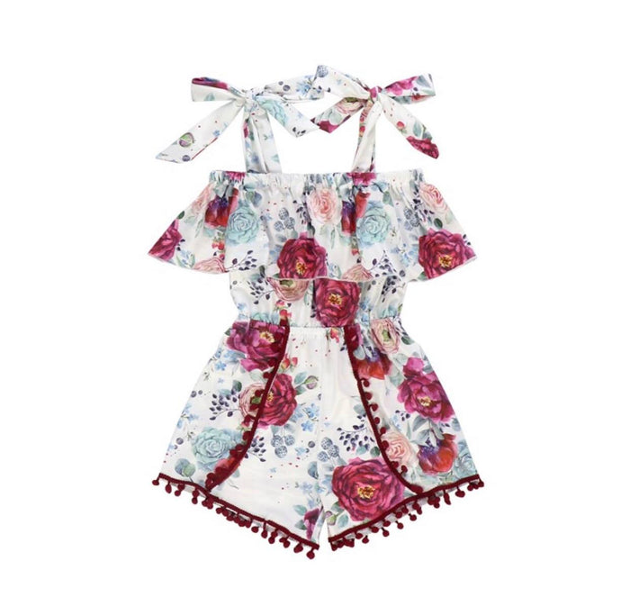 Kryssi Kouture Girls Burgundy Garden Floral Off Shoulder Pom Romper