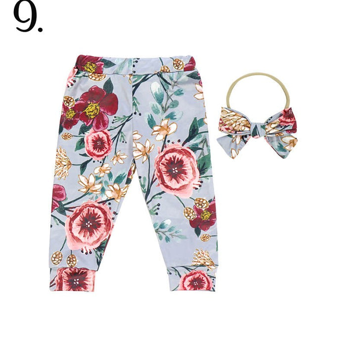 2 Pc Country Blue Floral Baby Cuffed Jogger & Headband