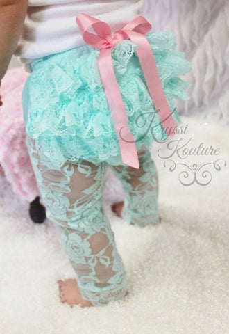 ***CUSTOMER FAVORITE***  Baby/Toddlers Aqua Sweet Lace Ruffle/Cinched Footless Tights/Leggings