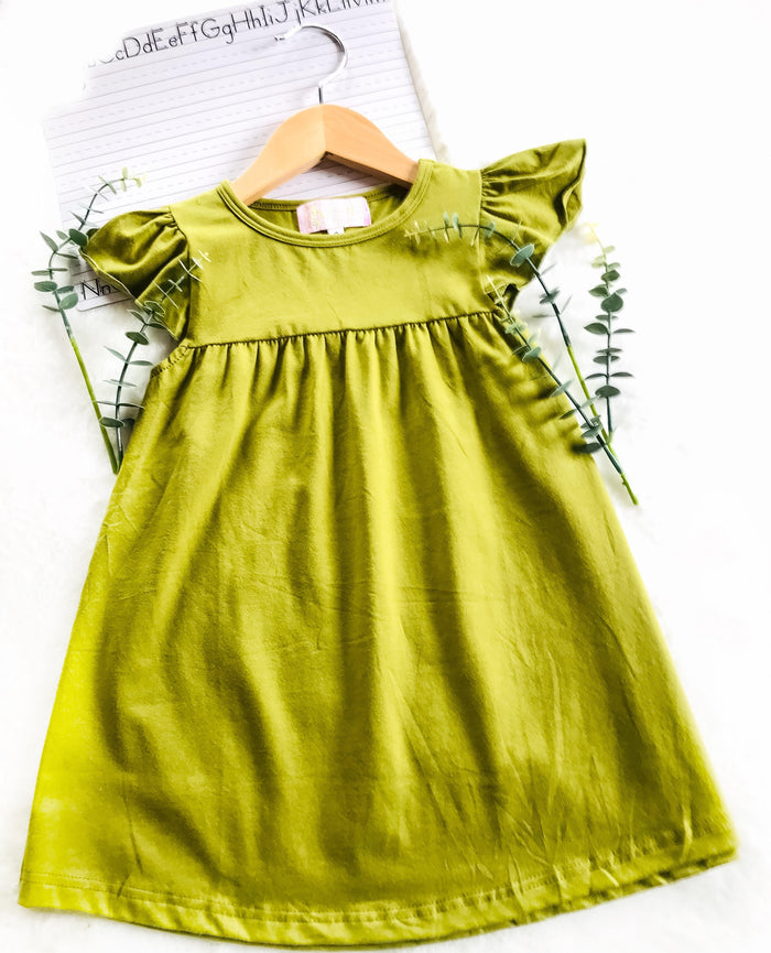 Olive Green Basic Dress