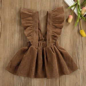 Brown Cord Suspender Fall Dress