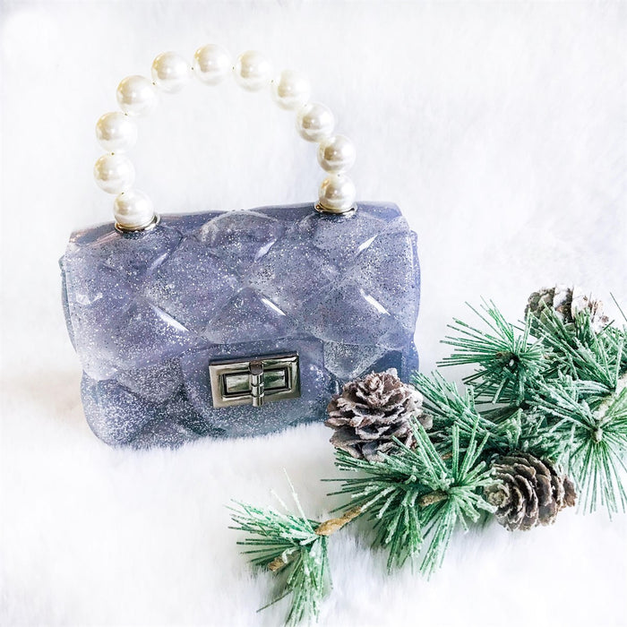 Silver Sparkle Jelly Pearl Cross Body Purse