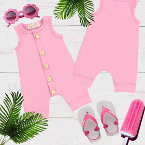 Bubble Gum Pink Girls & Boys Solid Romper
